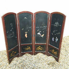 ANTIQUE VINTAGE JAPANESE LACQUERED FOLDING SCREEN MOTHER OF PEARL INLAY