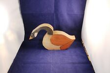 "UNIQUE 10"" CUT WOODEN SWAN SCULPTURE VINTAGE COUNTRY PARTIAL STAINED & PAINTED"