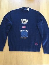 $265 NWT Polo Ralph Lauren Men's Teddy Bear Polo USA Flag Sweater Navy -Small