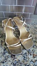 "Bandolino ""Obex"" Gold Faux Leather Strappy Block Heel Sandals Women's Size 8.5M"
