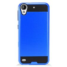 For HTC Desire 530 Brushed Metal HYBRID Rubber Case Phone Cover Accessory