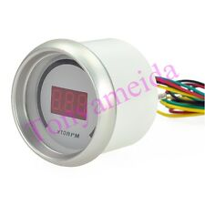 "White Auto Car 2"" 52mm Tacho Tachometer Red Digital Color 20 LED RPM Gauge Meter"