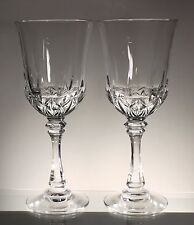 Set of 2 TALL Wine Goblets Glasses, 24% full lead crystal made in USA