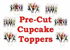 x24 POWER RANGERS  wafer paper stand up cup cake toppers PRE-CUT