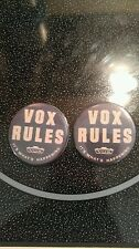"2X VOX AMP BADGE/PINBACK/BUTTON AC-30 AC-15 SUPER BEATLE ""VOX RULES"""