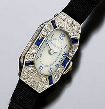 Ladies Deco Platinum Diamond and Blue Sapphire Nicolet Wrist Watch CA1930s
