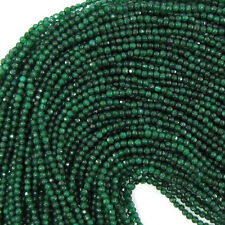 "2mm faceted emerald green jade round beads 15.5"" strand S2"