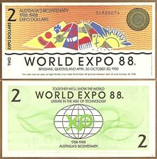 AUSTRALIA: BICENTENNIAL WORLD EXPO 1988 $2 & $5 NOTES