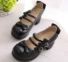 Women Cosplay Mary Janes Cuban Mid Heel Bowknot Ankle Strap Lolita Pumps Shoes
