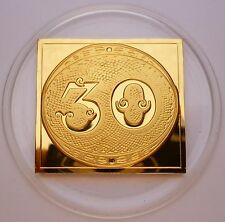 Brazil Beautiful 30 Reis Stamp 1843 Proof 24 K Gold Plated on Sterling Silver