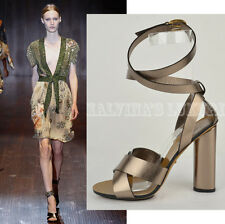 GUCCI SHOES METALLIC LEATHER CANDY WRAP AROUND STRAPPY HIGH HEEL SANDALS 37 / 7