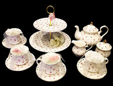 TEAWARE GRACIE'S PORCELAIN FINE CHINA PINK ROSES 13PC TEA SET FOR 4 PERS - NEW!