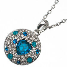 9.88 Ct Heart Cut Style Shape Blue Topaz CZ 18K White Gold Plated Pendant