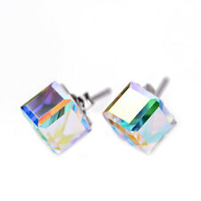 925 Sterling Silver Large AB Clear Swarovski Element Crystal CUBE Stud Earrings