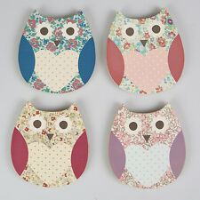 Sass & Belle Cute Shabby Chic Floral Owl Shaped Tea Coasters - Set of 4