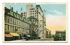 1927 Used White Boarder Post Card Congress St Monument Square Portland Maine ME