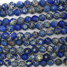 "8mm faceted sapphire blue sea sediment jasper round beads 15.5"" strand"