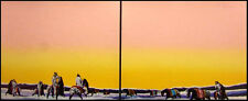 """Earl Biss """"Horse Thieves At Dawn"""" (peach sky) 2 pieces Hand Signed Horses"""