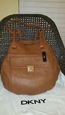 NWT DKNY Crosby Classic Lock Round Shopper Leather Caramel Large Retail $395