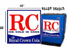 "12"" WHITE STYLE A  RC ROYAL CROWN COLA DECAL COOLERS SODA POP MACHINE"