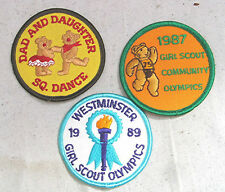 Lot of 3 Vintage Patches --- 2 Girl Scouts & Dad & Daughter Dance