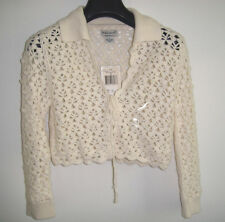 NWT GUESS JEANS Crochet  CARDIGAN TOP SWEATER Ivory Wool Blend Size Small
