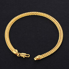 Vintage Mens Jewelry 18K Yellow Solid Gold Filled Snake Bracelet 7.5inch Heavy