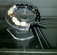 Gold Sterling Silver Mother Of Pearl Matte Spike Gemstone Bracelet Arm Candy