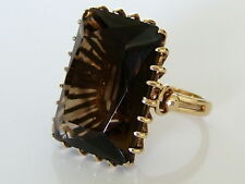 Beautiful Vintage 9ct Gold Smoky Quartz Cocktail Ring Size L 9g