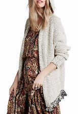 NWT FREE PEOPLE SzS  LOVE ME TENDER HOODED FRINGE CARDIGAN IN CREAM COMBO $128.