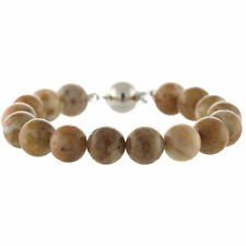 925 Sterling Silver Ball Clasp Bracelet / Natural 10mm Round Morocco Agate 7.5""