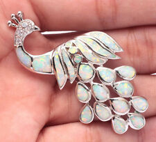 **UK SELLER** Silver/Rhodium Plated WHITE FIRE OPAL/CZ PEACOCK PENDANT 55x23mm