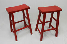 "Heavy Duty Saddle Seat Bar Stools Counter Stools - 29"" Red,Set of 2"
