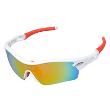 RockBros Polarized Cycling Sunglasses Glasses With Myopia Frame White Red