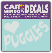 Car Window Decals: I Love Puggles | Dogs | Stickers Cars Trucks Glass
