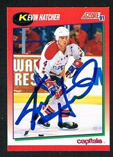 Kevin Hatcher #20 signed autograph 1991-92 Score Hockey Canadian Release Card
