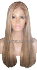 "Human Hair Wig Full Lace 22"" Long Light Brown Blonde 6 613 Highlights Moklox UK"
