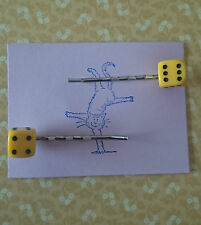 Handmade set of two small yellow dice hair clip bobby pin hair clips