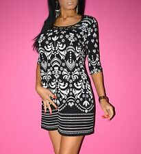 NEXT Boho Black White Cut Out Detail Loose Paisley Mini Dress Size 10 Petite BN
