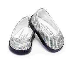 "18"" Doll Shoes Silver Slip on + Shoe Box Fit American Girl Clothes Accessories"