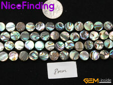 8mm Abalone Shell Natural Stone Loose Beads Jewelry Making Necklce Coin 15""