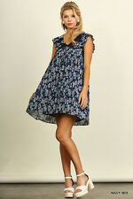 UMGEE NAVY Mix Floral Babydoll Pleated  Ruffle shoulder Dress/Tunic M SASSY SKY