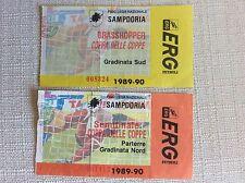 2 BIGLIETTI SAMPDORIA CALCIO COPPA DELLE COPPE 1989/90 VS. GRASSHOPPERS E MONACO