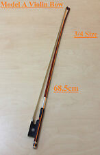 Caraya Model A Brazilwood Violin Bow 3/4 Size - Real Horse Hair, Ebony Frog