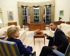 President Barack Obama with Secretary of State Hillary Clinton Photo Print
