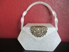 Vintage 60s. WILARDY Pearlized White Lucite Brass Filigree Embellishment bag