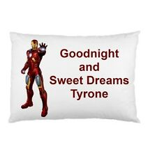 IRONMAN personalized kids childrens bed pillow cushion case cover
