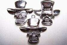 Tibetian Silver Lead Free Pewter Charms/Skull w/ Top Hat #3476 ~ 3Pcs.