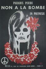 """""""NON A LA BOMBE EN POLYNESIE"""" Affiche originale entoilée Litho André ROLAND 1966"""