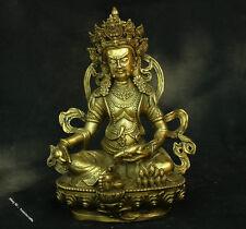 """11"""" China Bronze Brass Dzambala Yellow Jambhala Wealth Buddha Statue Sculpture"""